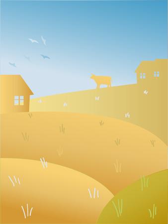 Vector illustration: Autumn summer sunshine landscape with fields, farm