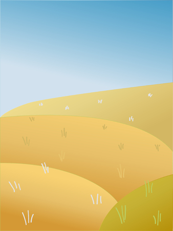 Vector illustration: Autumn summer sunshine landscape with fields, farm