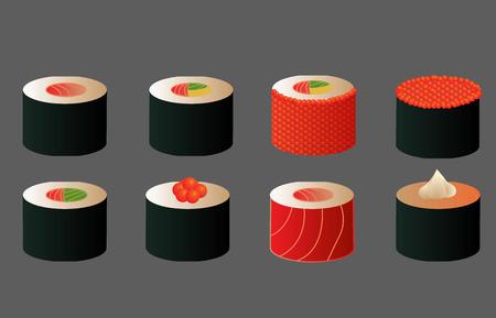 nori: different vector sushi rolls , for the menu, different maki, salmon, caviar, with nori seaweed Illustration