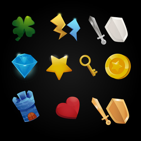 coins shot in golden color: Set of app store game icons, vector illustration
