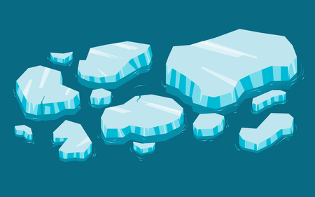 Iceberg big set cartoon. Ice and Icebergs in isometric 3d flat style. Set of different ice block Ilustracja