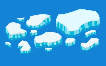 Iceberg big set cartoon. Ice and Icebergs in isometric 3d flat style. Set of different ice block Stock Photo