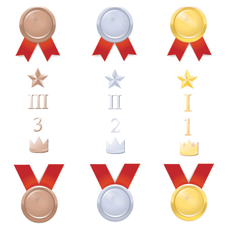 Bid set of gold, silver and bronze medals with red ribbon. Stars, places, crowns.  Vector illustration Illustration