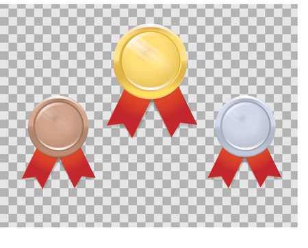 Set of gold, silver and bronze medals with red ribbon on transparent background. Illustration