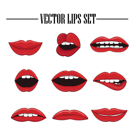 Female sexy lips logo collection. Vector stickers set. Isolated on white background