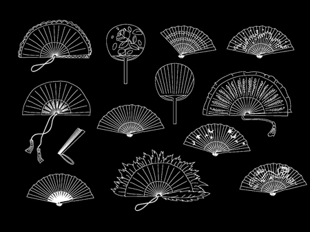 Collection of handheld fan  isolated on a black background.  Vector illustration.