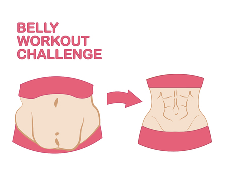 Belly workout challenge, different types body, belly fat and muscles, love your body in different condition Stock Illustratie