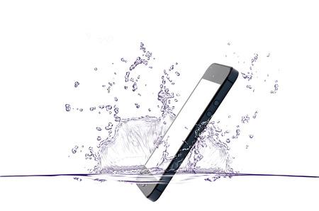 telefonok: mobil csepp víz Stock fotó