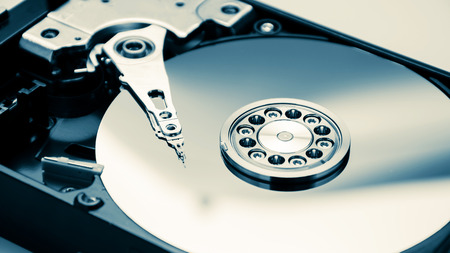 close up of hard disk with