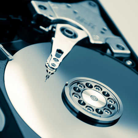 close up of hard disk with abstract reflection Stock Photo