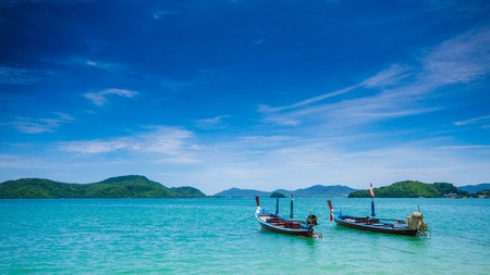 Boat in the andaman phuket thailand Stock Photo