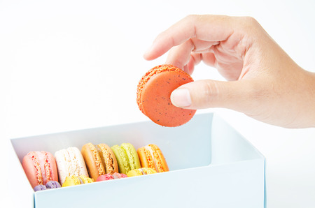 handles macaroon in the box on white background