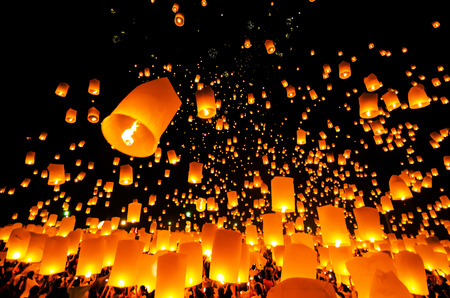 Flying Sky Lantern on Yeepeng festival, thai lanna tradition religion in Chiangmai thailan