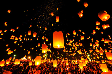 yeepeng: Flying Sky Lantern on Yeepeng festival, thai lanna tradition religion in Chiangmai thailan