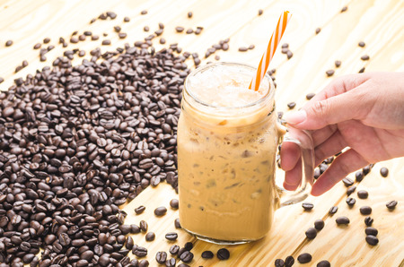 Cool Coffee in a cup glass Stock Photo