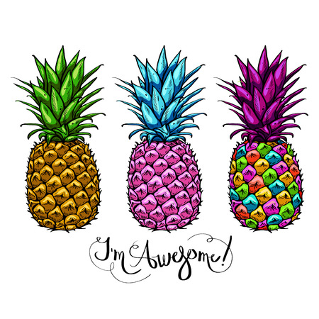 Image with three multicolored pineapples fruit lettering awesome on white background. Print t-shirt, graphic element for your design. Vector illustration. Illustration