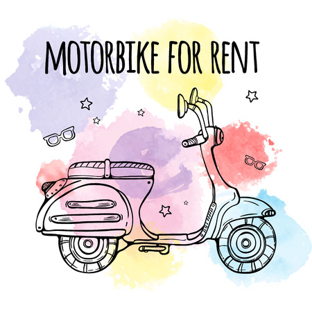 motobike: Motobike for rent. Advertising banner ad. Text and bike on watercolor background. Vector illustration.