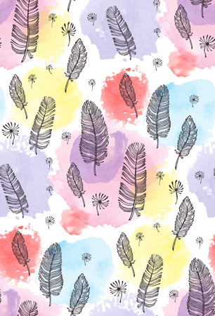 print, seamless pattern with feather, watercolor spots on a white background. Vector illustration