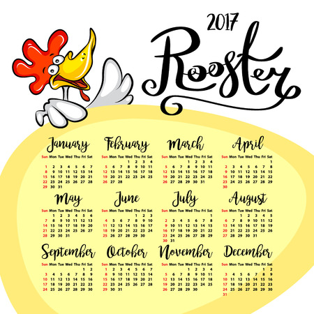 event planner: Vector calendar 2017. Rooster - the symbol of the Chinese New year. vector illustration
