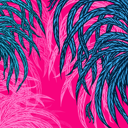 thickets: green leaves, feathers, on a pink background, design elements. Vector illustration