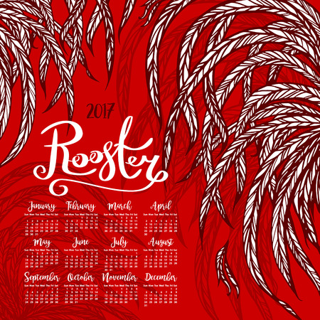 chinese script: Vector calendar 2017. Rooster - the symbol of the Chinese New year. vector illustration