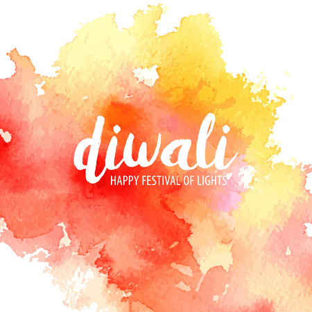 Vector illustration on the theme of the traditional celebration happy diwali. Watercolor spot with the inscription on a white background. Deepavali light and fire festival. Illustration