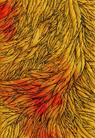 pattern of gold feathers, leaves, twigs, Art background, design element vector illustration Illustration