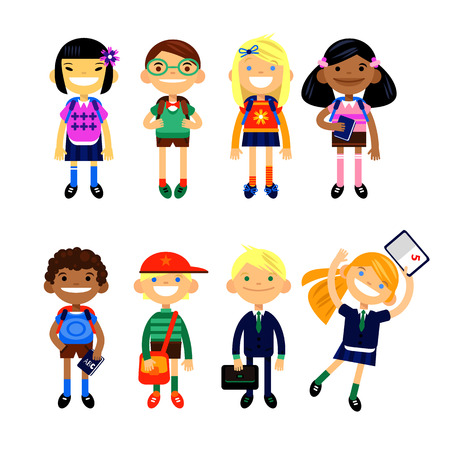 school kit: Set of characters elementary schoolchild, school students on a white background. Schoolboys and schoolgirls of different nationalities. Vector illustration of a flat design