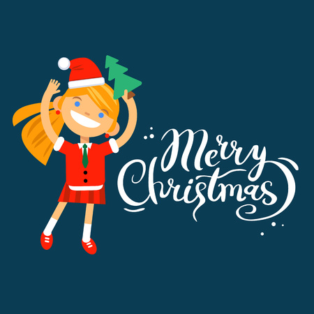 Card Marry Christmas, girl, woman character in New Year costume on a blue background. Vector flat cartoon illustration
