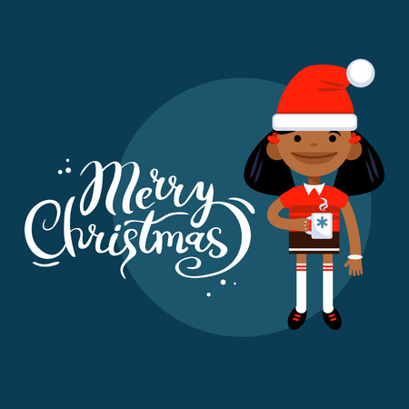Card Marry Christmas, girl with a mug, woman character in New Year costume on a blue background. Vector flat cartoon illustration