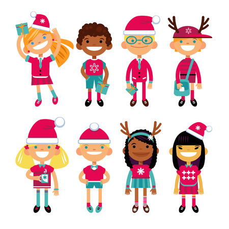 nationalities: Set of characters schoolchild in Christmas costumes, the Fun in the New Year. Schoolboys and schoolgirls different nationalities. Vector illustration of a flat design