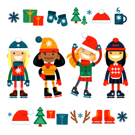 Dzieci, dziewczyny na rolkowych kolekcjach na białym tle. Zestaw ikon Bożego Narodzenia. Ilustracji wektorowych