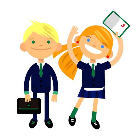 dva studenti, školáci, roztomilý chlapec a dívka ve formě bílého pozadí. Vektorové ilustrace bytové konstrukce
