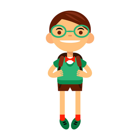 student, schoolchild, cute boy bespectacled on white background. Vector illustration of a flat design Illustration
