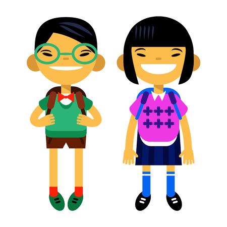 žák: dva asijských studentů, školák, roztomilý chlapec a dívka ve formě bílého pozadí. Vektorové ilustrace bytové konstrukce Ilustrace