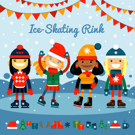 girls, collection of different nationalities children in roller skates on the rink. Winter sports and recreation. Set of Christmas icons.