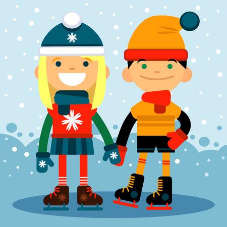 rulos: chico y chica en patines en la pista. Los deportes de invierno y recreación. ilustración vectorial diseño plano Vectores