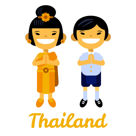 finery: Thailand, Asian children, thai girl and boy, cartoon characters in traditional costume on white background. Vector illustration flat design