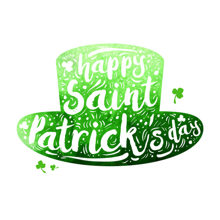 faerie: Green watercolor silhouette Patrick hat on white background. Calligraphy Happy St. Patricks day, design element, icon, banner. Vector illustration.