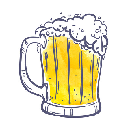 yellow Toby jug with beer on White background. symbol, design element, banner. Vector illustration.