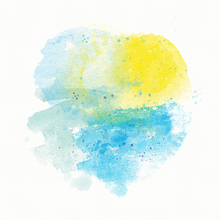 abstract blue Yellow watercolor background, divorce, spot and spray. Sun and sea, beach, sunset