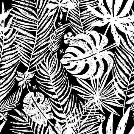 banana sheet: Seamless repeating pattern with white silhouettes of palm tree leaves in black background. Vector botanical illustration, elements for design.