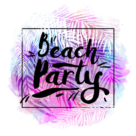 beach sunset: poster beach party on a trendy tropical watercolor background, exotic palm trees. Card, label, banner design element. Vector illustration