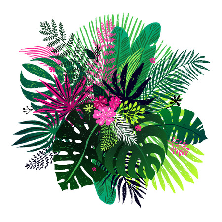 Exotic bouquet of tropical plants, palm leaves and flowers on a white background. Vector botanical illustration, design elements.