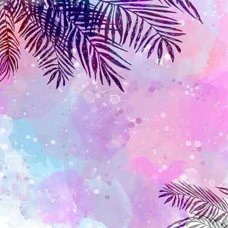 liana: trendy Pink blue tropical background, exotic leaves, coconut palm. Vector illustration, elements for design.