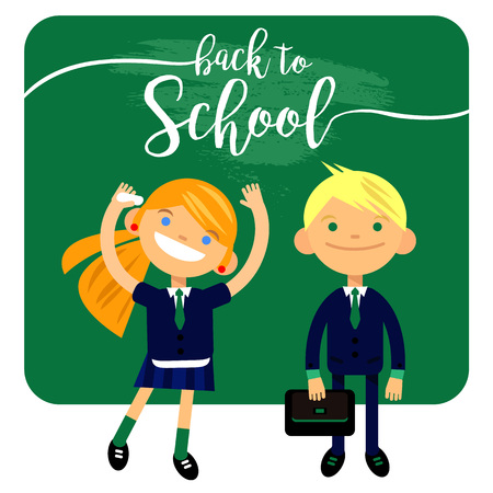 back to school, two students, schoolchild, cute boy and girl in the form of a white background. Vector illustration of flat design, element, congratulation cards, banners and flyers.