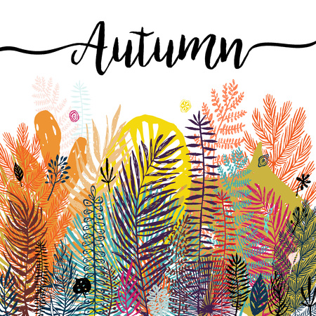 Multicolor trendy tropical autumn background, exotic leaves. Vector botanical illustration, Great design element for congratulation cards, banners, flyers.
