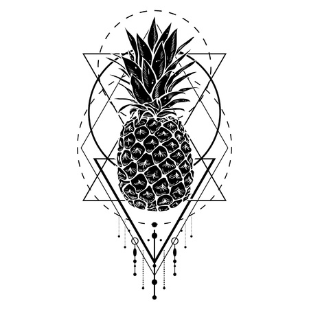 Image of black white pineapple fruit with geometric figures. Print t-shirt, graphic element for your design. Vector illustration.