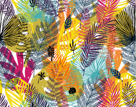 Multi color print, seamless pattern with trendy autumn background. Illustration