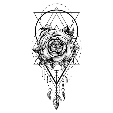 rose tattoo: Black chaplet, Rose flower with the eye, pattern of geometric shapes on white backdrop. Illustration
